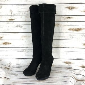 Nine West Womens 10.5 Black Suede Over the knee